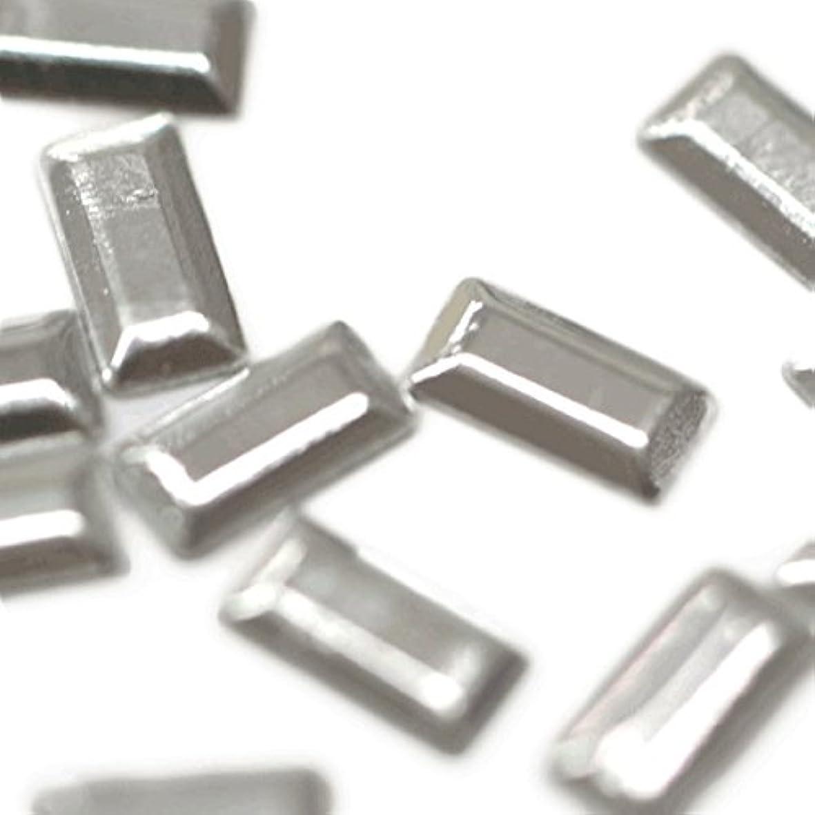 枯渇複製する彫刻メタルスタッズ 2mm×5mm レクタングル シルバー 約20粒