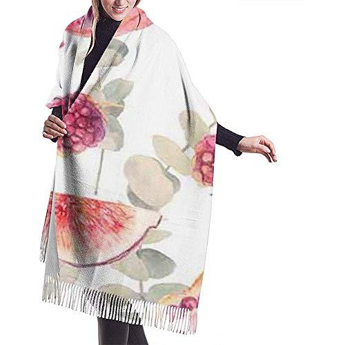 Cathycathy Ruits-eucalyptus-takken met planten- en voedseldoek-verpakking winterwarme sjaal-omhang grote zachte sjaalverpakking