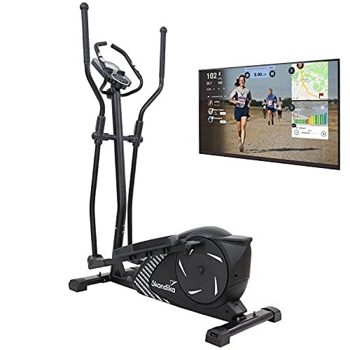 Skandika Eleganse - Bicicleta elíptica - Bluetooth - 32 Niveles de Resistencia - 12 kg Masa Volante (Negra)