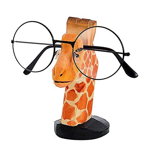 Talladas a Mano Soporte para Gafas De Sol Madera Ornamento Forma de Animales Expositor para Gafas Organizador de Gafas en Forma de Jirafa,Decoración Ideal para Hogar Oficina Escritorio(Jirafa)