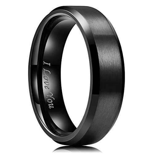 King Will 7mm Stainless Steel Ring Black Plated Matte Finish&Polished Beveled Edge with Laser Etched I Love You 9.5