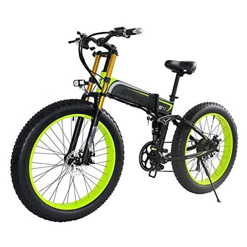 HMEI Bicicleta eléctrica para Adultos 1000W Bicicleta eléctrica de montaña Plegable 48V 26 Pulgadas Fat Ebike Motocicleta Plegable de 21 velocidades (Color : Verde)