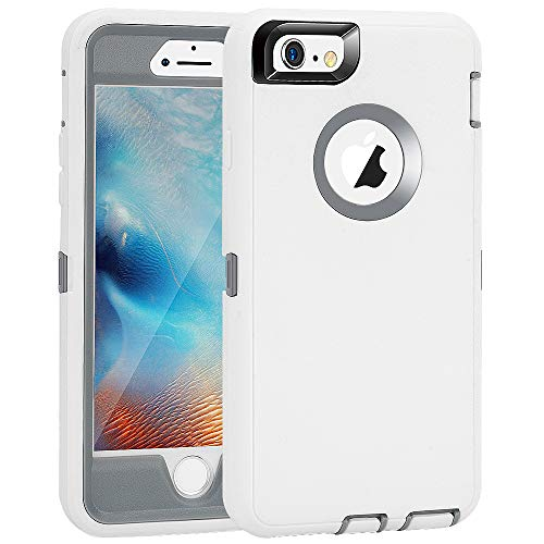iPhone 6 Plus/6S Plus Case, Maxcury Heavy Duty Shockproof Series Case for iPhone 6 Plus/6S Plus (5.5') with Built-in Screen Protector Case Cover (White/Gray)