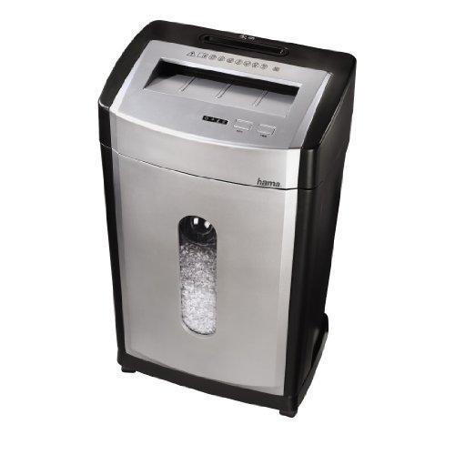Hama Aktenvernichter 12 Blatt (Kreuzschnitt und Partikelschnitt, separater Schredder für Kreditkarten CD, DVD, Blu-ray, Papierschredder Sicherheitsstufe P-5 mit Vernichtung nach DSGVO) schwarz-silber