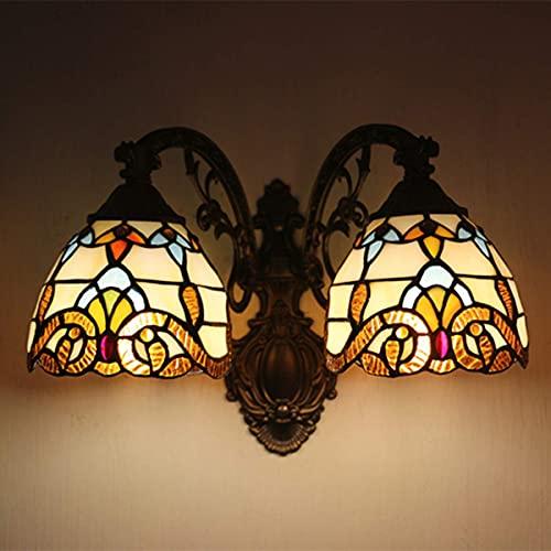 Tiffany estilo lámpara de pared europeo retro vidriera pared luz diseño barroco apliques para dormitorio mesita de noche hoteles cafés pasillo