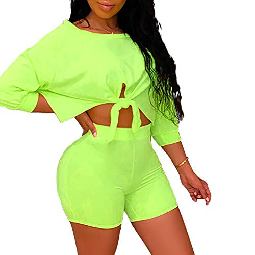 Women's Sexy 2 Piece Outfits Crop Top Bodycon High Waist Shorts Tracksuit Set Jumpsuits Rompers Green M