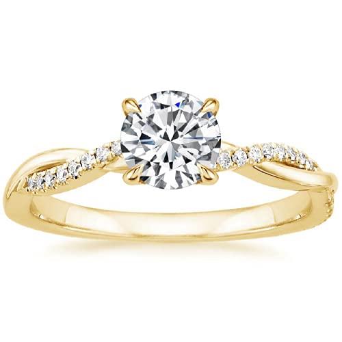 Ani's Anillo de compromiso pequeño trenzado de vid de 5 mm redondo transparente CZ diamante para mujer en oro amarillo de 14 quilates chapado en plata 925 1/2 quilates