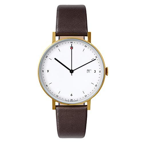 Pkg 01–Toque minimalista, analógico reloj de pulsera de Void Watches Mate Oro cepillado carcasa y correa de piel pulsera