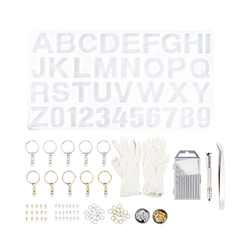 Ornaland Alphabet Silicone Resin Molds Kits, Letter Number Epoxy Molds for DIY Keychain Earrings Necklaces Bracelets Pendant Jewelry Making