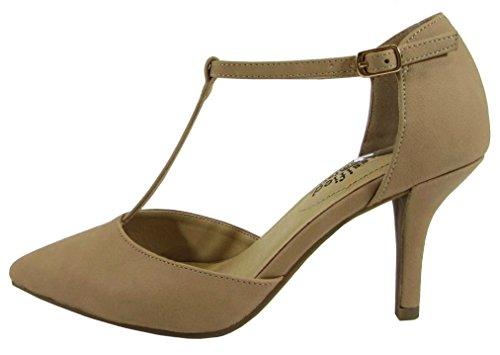 City Classified Comfort Women's Pinty Toe T-Strap Mid Heel Pump,9 B(M) US,Natural Nubuck