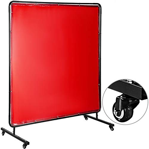 Mophorn Welding Screen with Frame 6' x 6', Welding Curtain with 4 Wheels, Welding Protection Screen Red Flame-Resistant Vinyl, Portable Light-Proof Professional