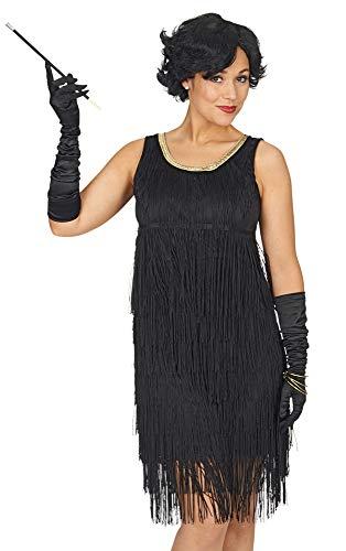 Charleston Justine jurk met franjes - zwart goud - dames party gatsby kostuum in de stijl van de jaren 20