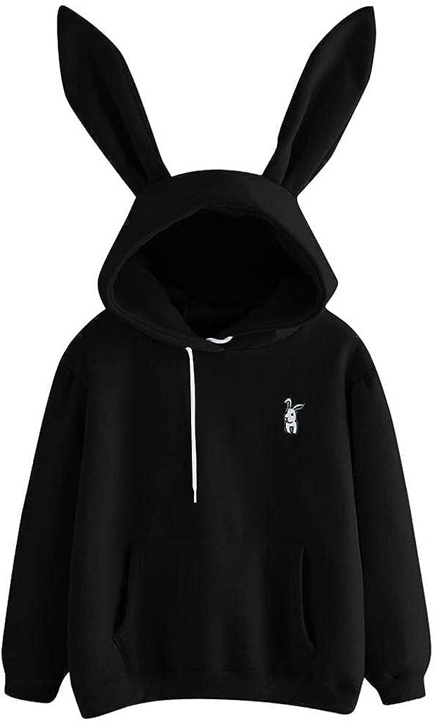 Cute Hoodies for Women Teen Girls Animal Cosplay Rabbit Ear Pullover Anime Sweatshirts Kawaii Comfy Pocket Tops