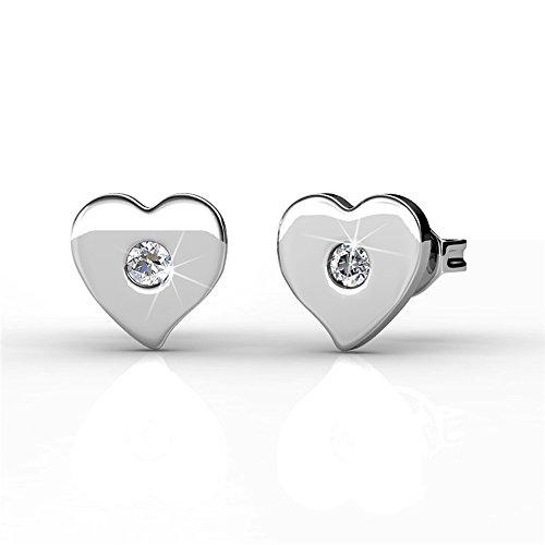 Cate & Chloe Vanessa Petite Sacred Heart Shape 18k White Gold Silver Stud Earrings with Center Swarovski Crystal, Beautiful Small Heart Shaped Earring Set, Tiny Heart Earrings for Women (Crystal Heart Post Earrings)