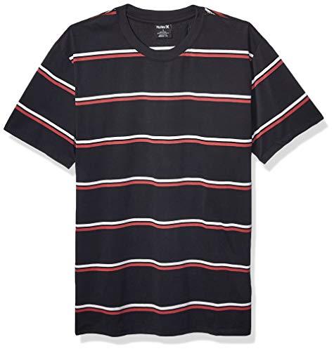 Hurley Men's Dri-Fit Harvey Stripe Short Sleeve Tshirt, Black/Cedar, XL