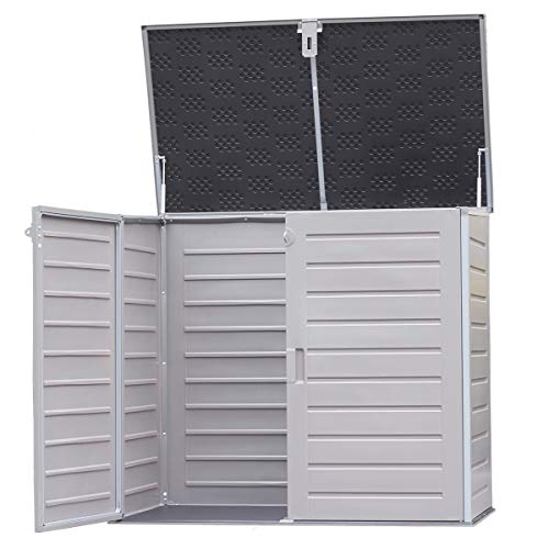 Charles Bentley 1170L Outdoor Garden Storage Cabinet Grey and Black Strong Durable