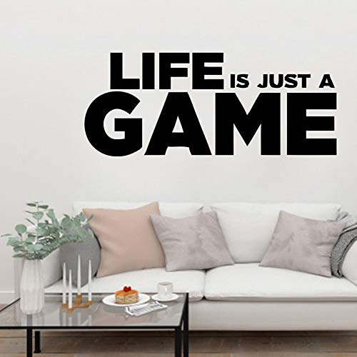 YuanMinglu Das Leben ist nur Spiel Spieler Zitat Wandtattoo Wohnzimmer Aufkleber Vinyl Tapete Junge Schlafzimmer bewegliche Kunst Wandbild 42x44cm