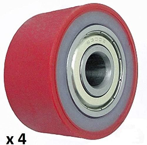 4 Stück Z PU Rollen 50 mm Durchmesser 26 mm Breite 10 mm Lager Made in EU (P- 50-26-10)