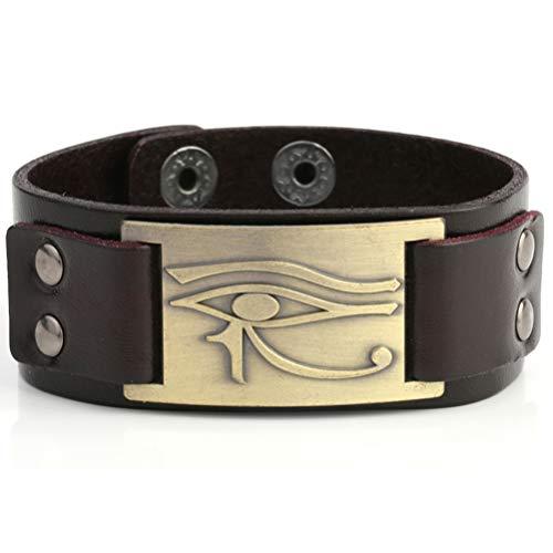 My Shape, bracciale egiziano con amuleto pagano a forma di occhio di Horus, RA, Thoth, Udjat e Lega, colore: Antique brass,Brown, cod. B109370-1