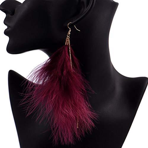 TIANJJ Feather oorbellen Sierlijke Drake Feather Oorbellen Verklaring Oor Studs Voor Vrouwen Beoordeelde Sieraden Exquisite Kwastje Sieraden