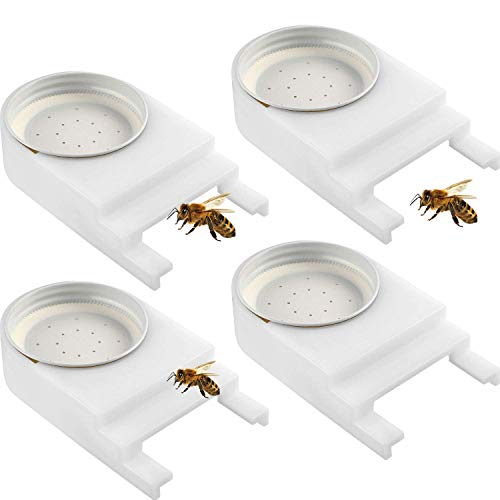 Bee Feeders 4 Pack - Perforated Lid Fits Mason and Plastic Jars - Water and Sugar Syrup Entrance or Top Dispenser-Easy-to-Install Beekeeping Beehive Equipment -Beekeeping