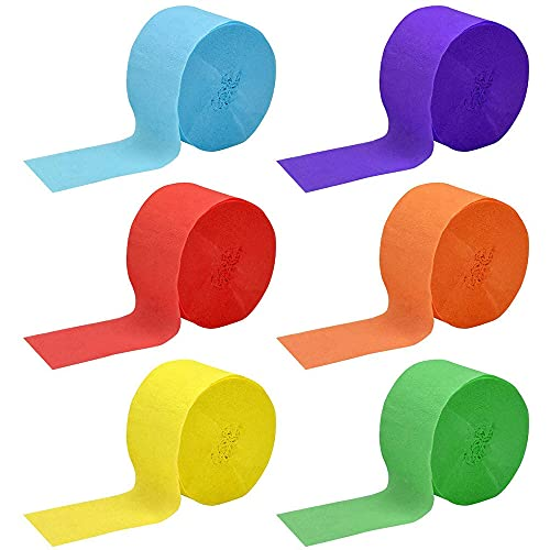 ANCLLO Papel crepé para manualidades con serpentinas colgantes para decoración de fiestas, 6 colores para festivales, fiestas de cumpleaños, bodas