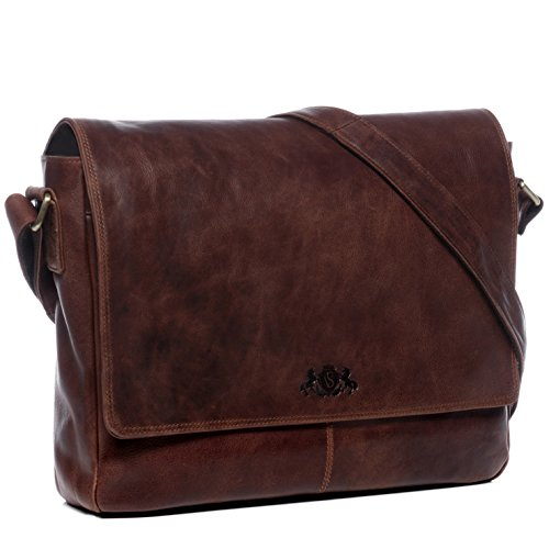 SID VAIN Messenger Bag echt Leder Laptoptasche Spencer gros Businesstasche Umhangetasche Laptopfach 156 Ledertasche Herren braun