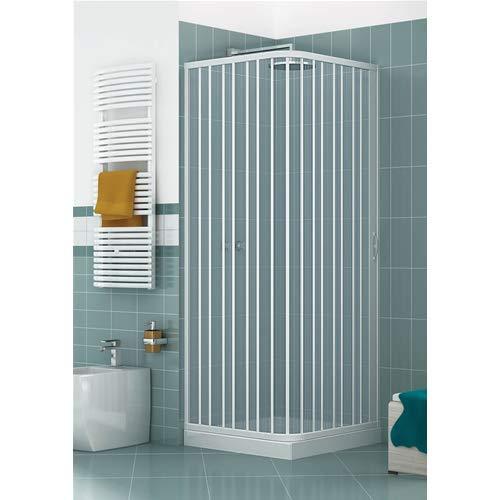 Cabina de ducha de 90 x 90 x 185 cm, modelo Paola de PVC, cabina con apertura lateral, única puerta semitransparente con fuelle reducible y reversible de color blanco