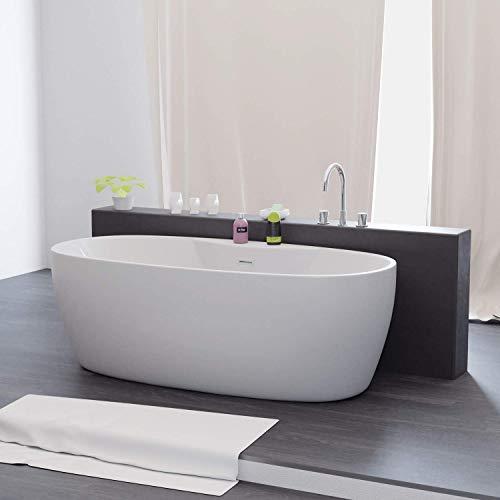 Tronitechnik Freistehende Badewanne Anafi 170cm x 80cm x 58cm Wanne aus Acryl mit Siphon/Ablaufgarnitur in weiß Luxus Badewanne im Nostalgielook