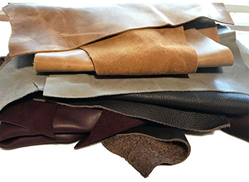 2-7 Pieces per Pack Colors and Shapes Leather Scraps: Sheets of Leather for Crafts Various Sizes 2 Lbs
