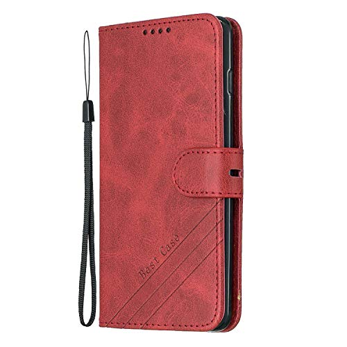 Leather Wallet Case for Samsung Galaxy S10+ (S10 Plus), Flip Case Leather with Kickstand,Folio Magnetic Closure Protective Cover with Card Slots for Galaxy S10+ (S10Plus) - DEHX010299 Red