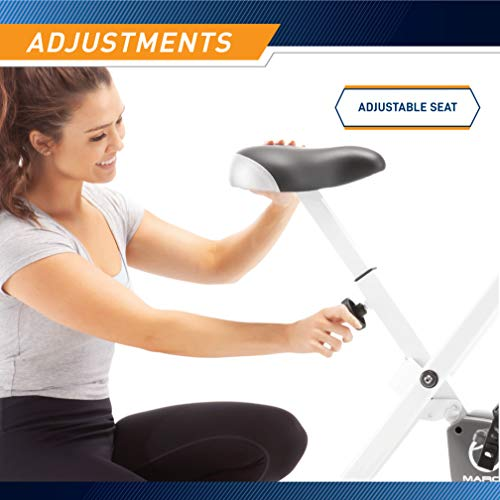 Marcy Foldable Exercise Bi   ke with Adjustable Resistance for Cardio Workout and Strength Training NS-652