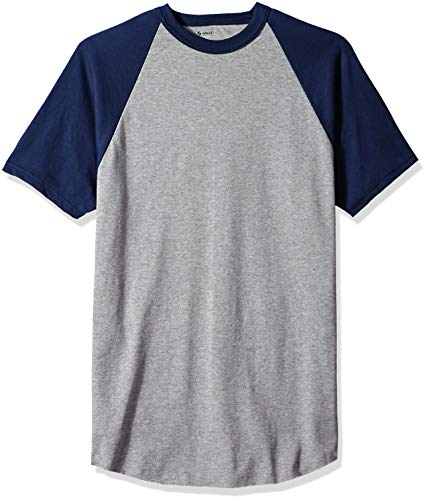 Soffe Men's Short Sleeve Baseball Tee, Athletic Oxford/Navy, X-Large