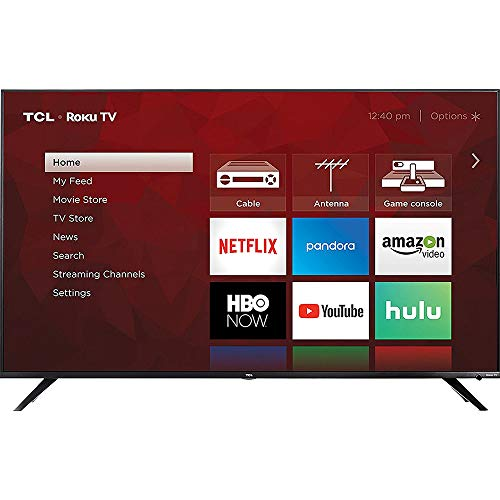 TCL 55R617 55-inch Class 6-Series 4K HDR Roku Smart TV (2018 Model) Bundle with 37-70-inch Low Profile Wall Mount Kit, De   co Gear Wireless Keyboard and 6-Outlet Surge Adapter with Night Light