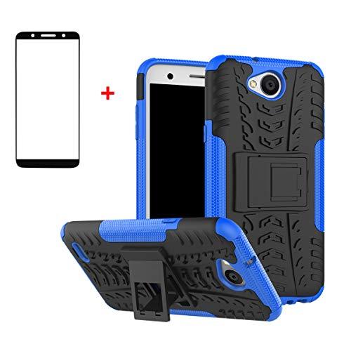 FullProtecter LG X Power2 Hülle,Bumper Cover Schutz Tasche Handyhülle Schutzhülle Silikon TPU+PC Hardcase für LG X Power2(Blau)+2 Stück Panzerglas Schutzfolie