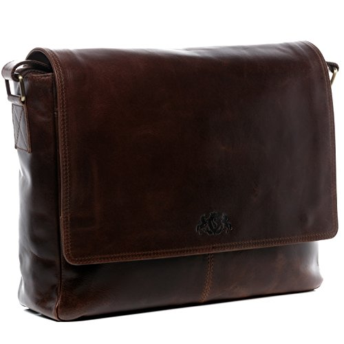 SID & VAIN Messenger Bag echt Leder Laptoptasche Spencer groß Businesstasche Umhängetasche Laptopfach 15.6