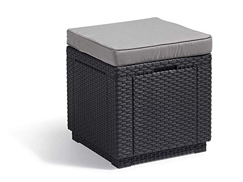 Allibert by Keter Outdoor Garden Storage Seat Stool with Cushion - Graphite with Grey Cushion