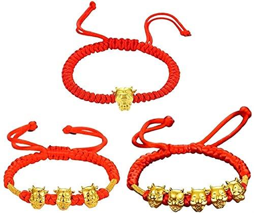 Pulsera de buena suerte 3 unids mascota cinco fortunas oro vaca rojo cuerda pulsera 2021 chino buey nuevo año tradición zodiaco afortunado bendición pulseras Un gran regalo como una pulsera de amistad