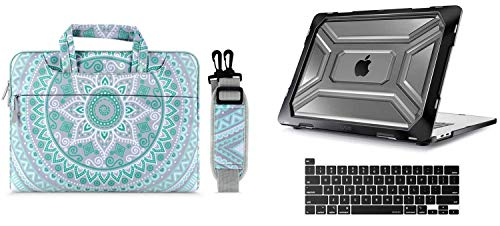 MOSISO Heavy Duty Plastic Hard Shell with TPU Bumper & Mandala Shoulder Bag Compatible with 2019 Release MacBook Pro 16 inch A2141 with Touch Bar & Touch ID