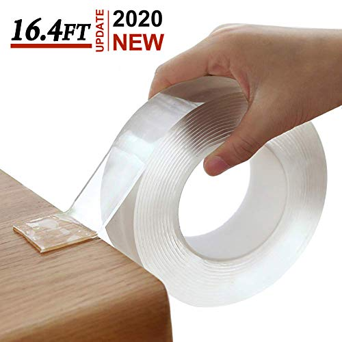 Nano Tape Double Sided Sticky Washable Multipurpose Adhesive Tape Traceless Washable, Heavey Duty Strong Sticky Mounting Tape Gel Poster Tape for Paste Items Office & Household (16.4Ft x 1.18In)