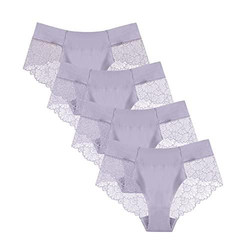 URIBAKY - Braguitas de encaje para mujer, transpirables, sexy, de seda helada, sin marcas, ropa interior de encaje gris S