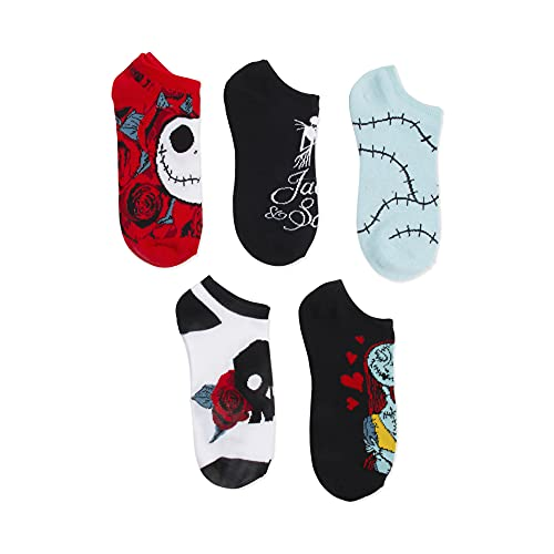 Disney womens Nightmare Before Christmas 5 Pack No Show Casual Sock, Black Primary, Fits Sock Size 9-11 Fits Shoe Size 4-10.5 US