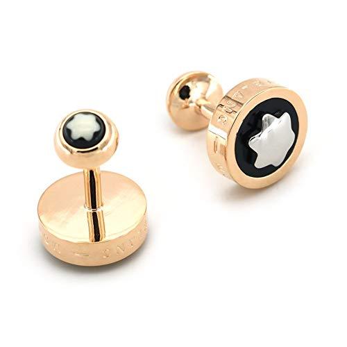 ZLI Klassische Manschettenknöpfe für Herren für Französisches Hemd, Elegante Luxusschnalle für Jungen, für Verlobungsfeier-Dating und Tägliche Kleidung (Color : Rose Gold+Black)