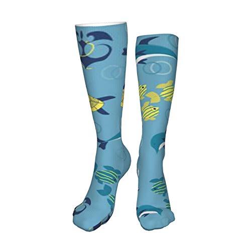 ZVEZVI Calcetines deportivos de algodón para hombres y mujeres de fondo marino sin costuras, cojín informal con absorción de humedad, 50 cm / 19,8 pulgadas