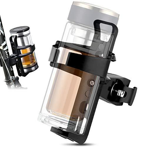 Portabidon Bicicleta,Rotación de 360 Grados Soporte para Botella, Universal Portavasos para Moto Bicicleta MTB Cochecito CarritoBebe (Negro)