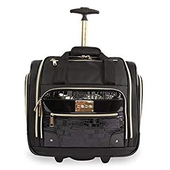 BEBE Women s Danielle-Wheeled Under The Seat Carry On Bag Black Croc One Size