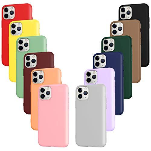 ivoler 12x Funda para iPhone 11 Pro, Fina Carcasa Silicona TPU Protector Flexible Funda (Negro, Gris, Azul, Verde Oscuro, Verde, Morado, Rosa, Rojo Vino, Rojo, Amarillo, Naranja, Marrón)