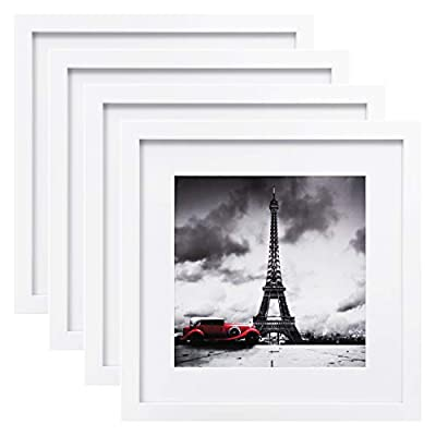 Egofine 11x11 Picture Frames 4 PCS, Made of Solid Wood for Pictures 4x4/8x8 with Mat for Table Top Display and Wall Mounting Square Photo Frame White