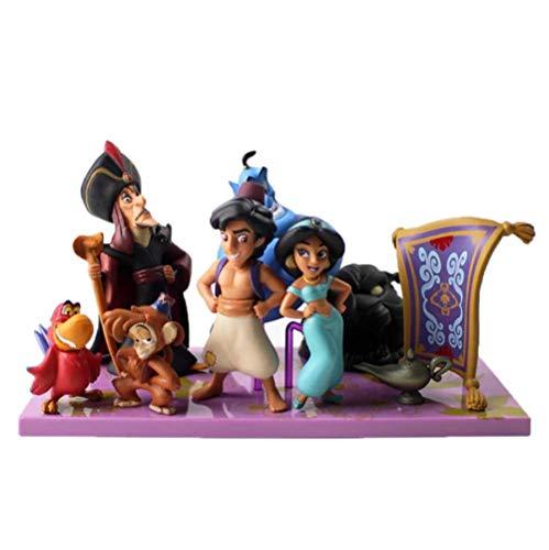 7 unids / Set Figuras de Princesa Mono Malvado Tigre Aladino y su lámpara PVC Figura de acción Modelo de Juguete para niños