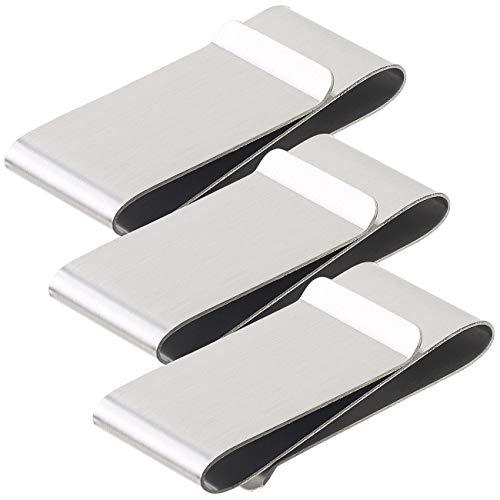 PEARL Geld-Klammer: 3er-Set Elegante Doppel-Geldschein-Klammern aus rostfreiem Edelstahl (Clips für Kreditkarten)